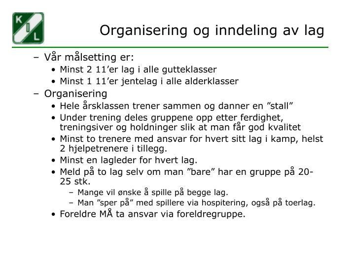 Organisering og inndeling av lag