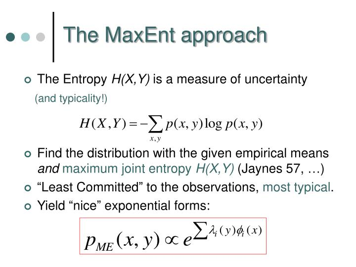 The MaxEnt approach