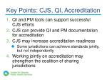 key points cjs qi accreditation