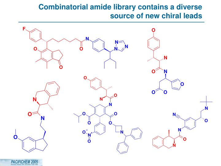 Combinatorial amide library contains a diverse source of new chiral leads