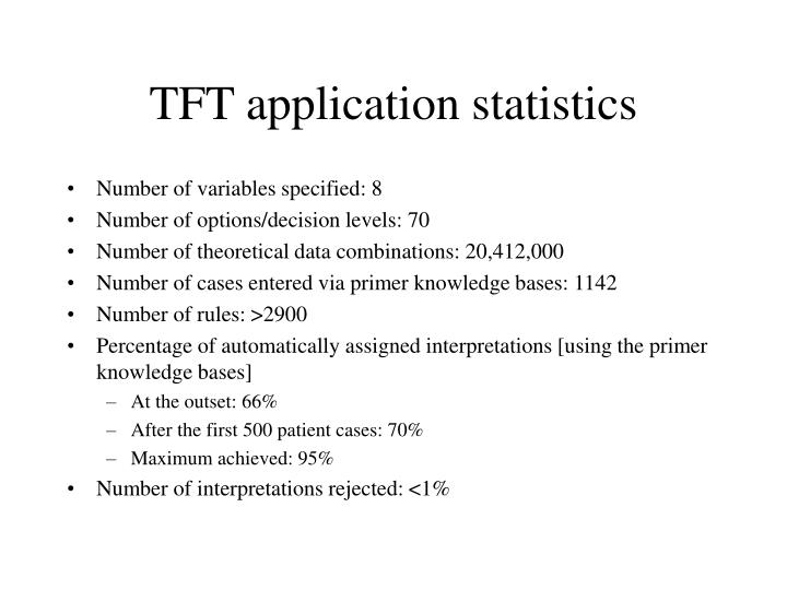 TFT application statistics