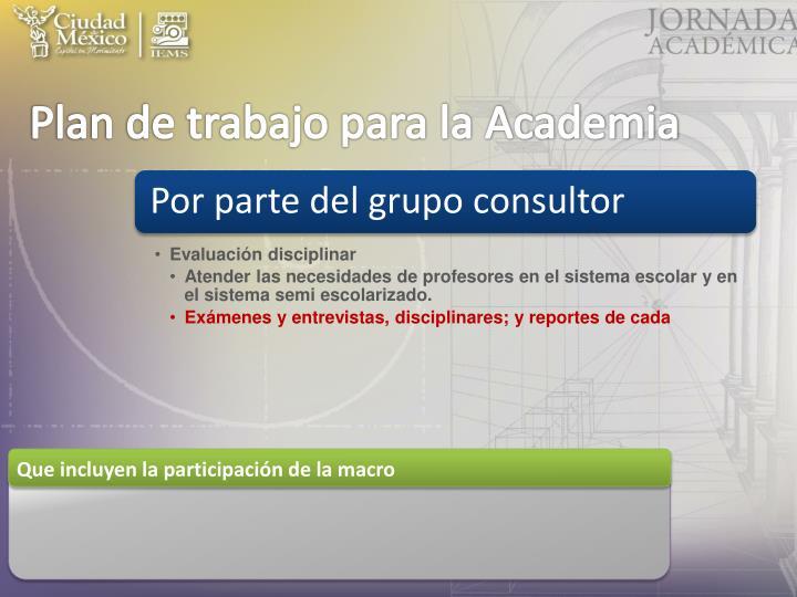 Plan de trabajo para la Academia