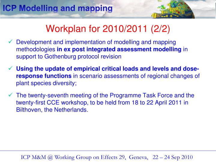 Workplan for 2010/2011 (2/2)