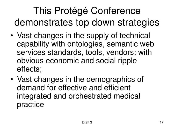 This Protégé Conference demonstrates top down strategies