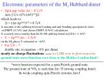 electronic parameters of the m 1 hubbard dimer