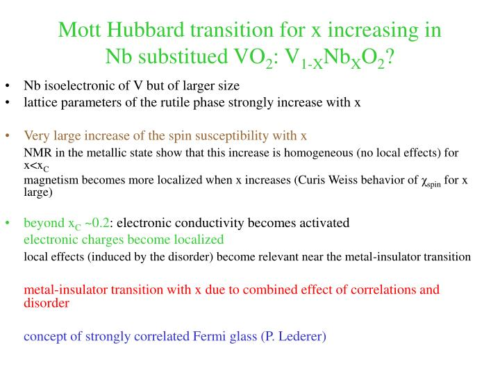 Mott Hubbard transition for x increasing in