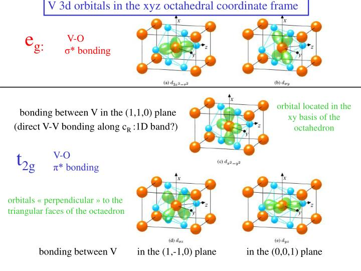 V 3d orbitals in the xyz octahedral coordinate frame