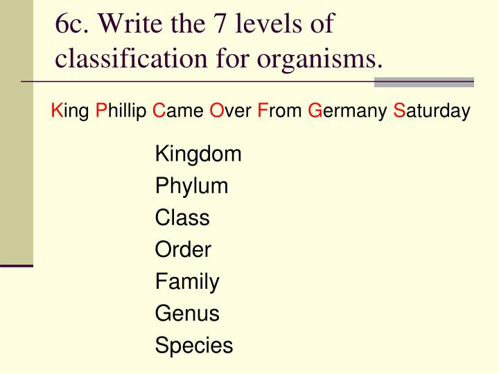 6c. Write the 7 levels of classification for organisms.