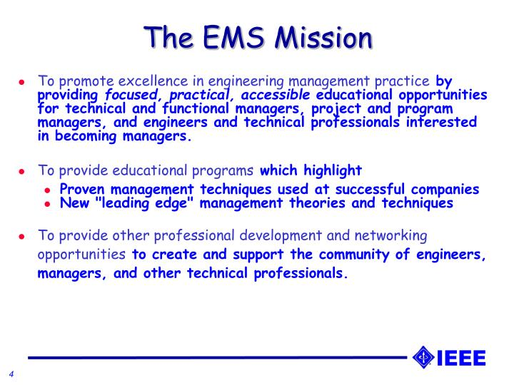 The EMS Mission