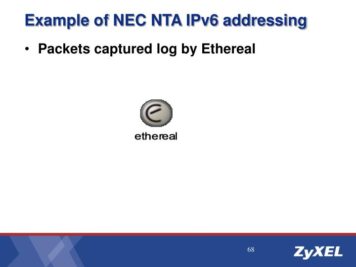 Example of NEC NTA IPv6 addressing