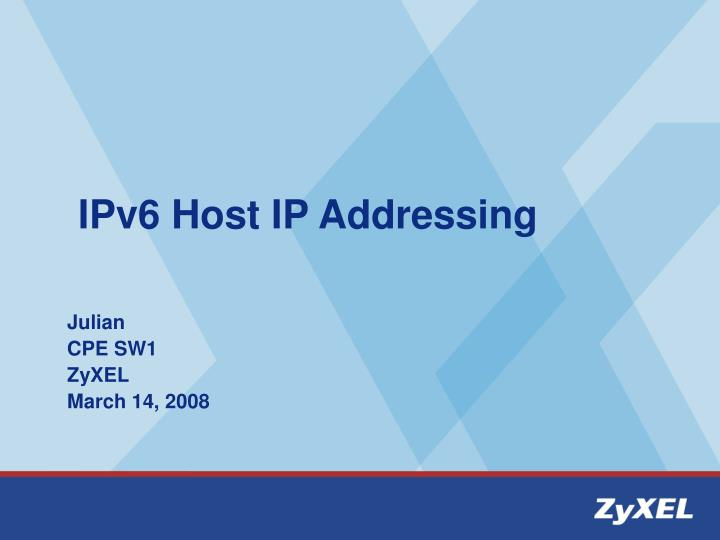 IPv6 Host IP Addressing