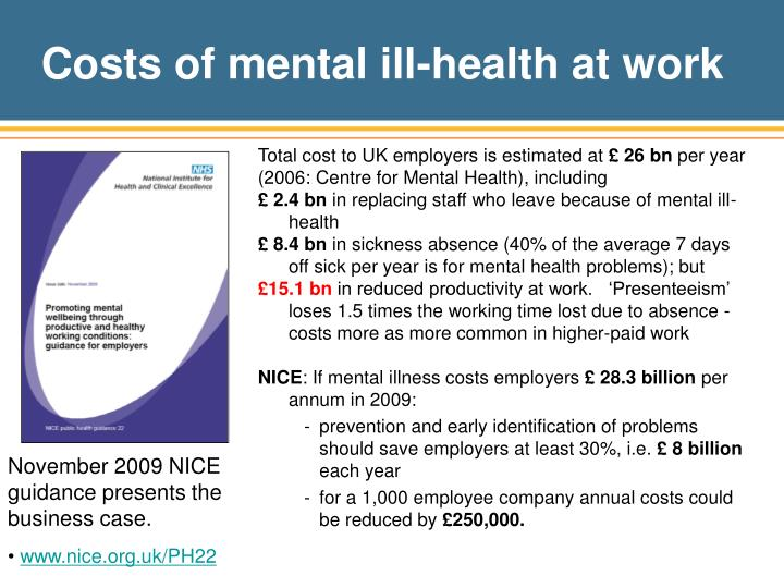 Costs of mental ill-health at work