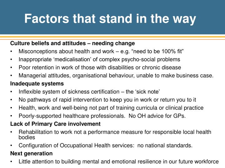 Factors that stand in the way