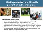 health promotion and ill health prevention in the workplace