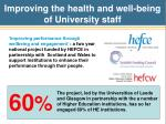 improving the health and well being of university staff