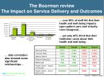 the boorman review the impact on service delivery and outcomes
