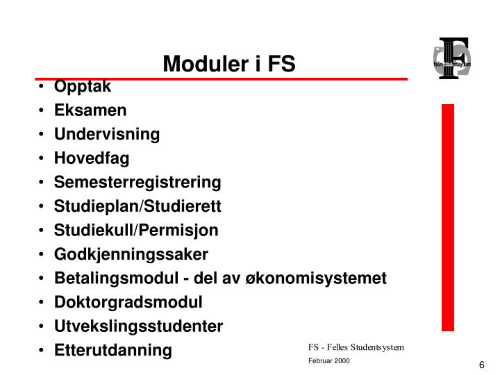 Moduler i FS