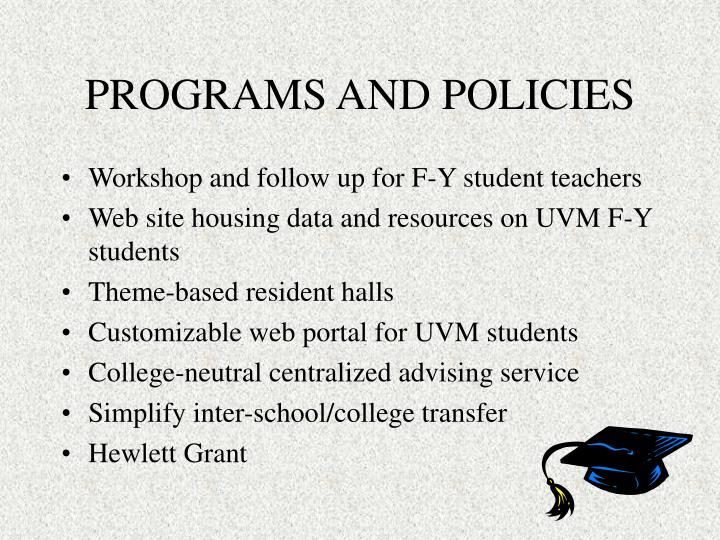 PROGRAMS AND POLICIES