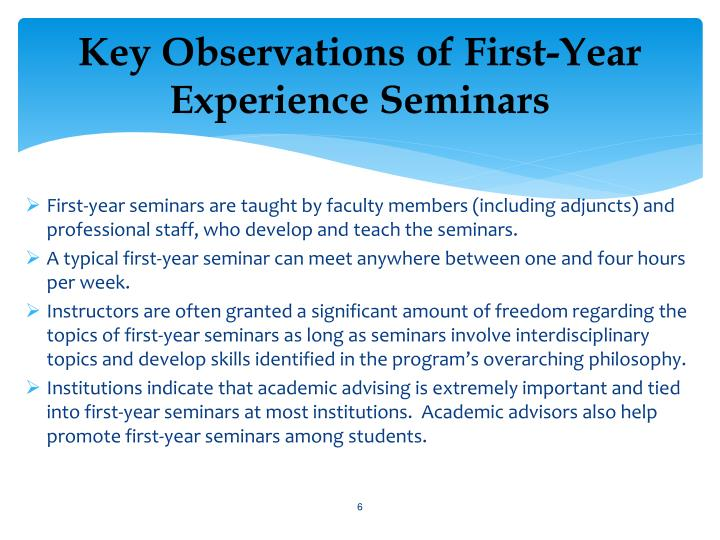 Key Observations of First-Year Experience Seminars
