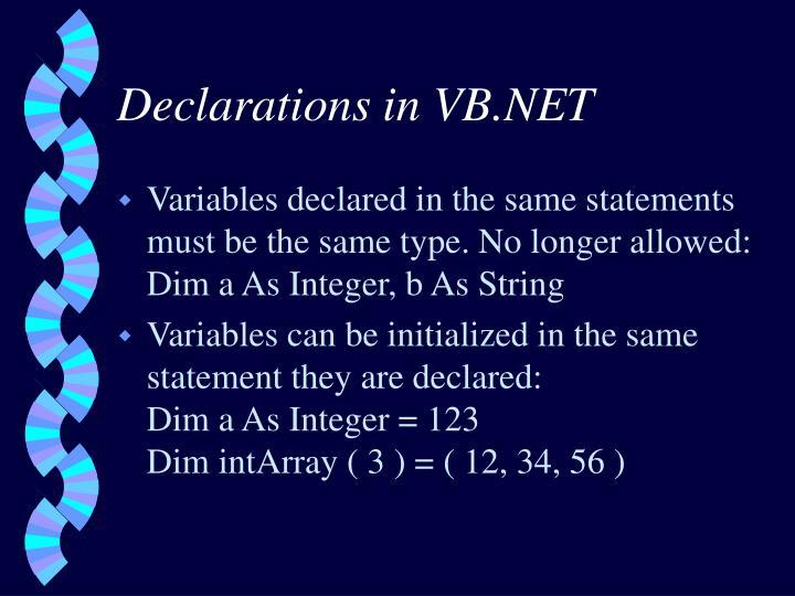 Declarations in VB.NET