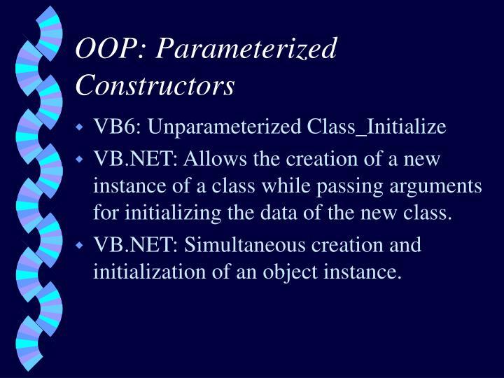 OOP: Parameterized Constructors