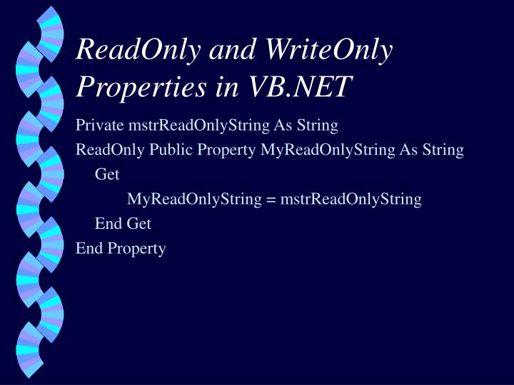 ReadOnly and WriteOnly Properties in VB.NET