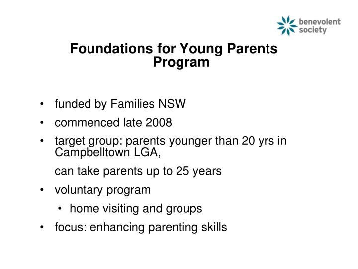 Foundations for Young Parents Program