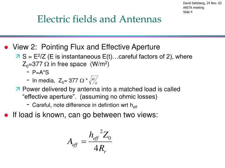 Electric fields and Antennas