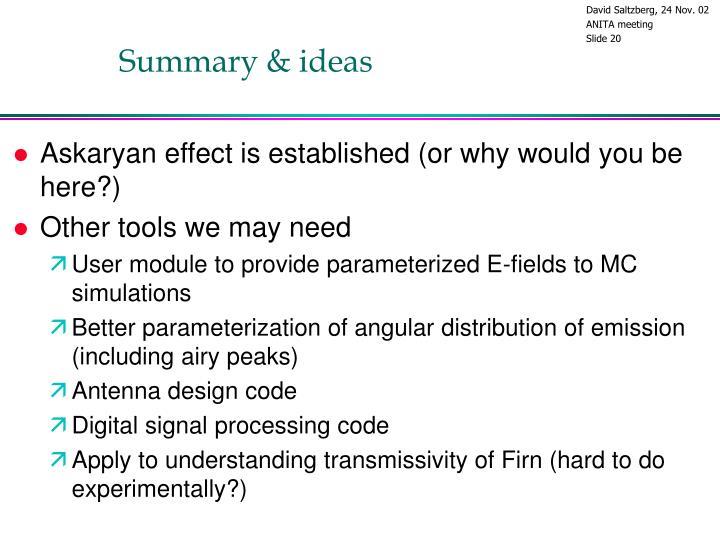 Summary & ideas