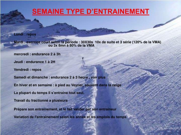 SEMAINE TYPE D'ENTRAINEMENT