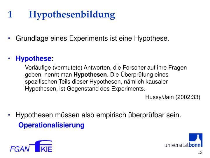1 Hypothesenbildung