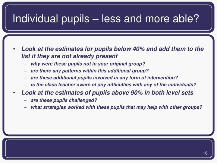 Individual pupils – less and more able?