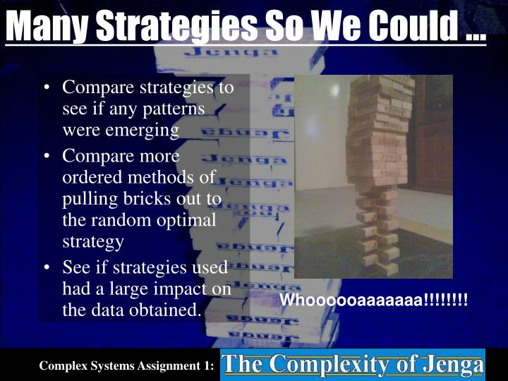 Many Strategies So We Could …