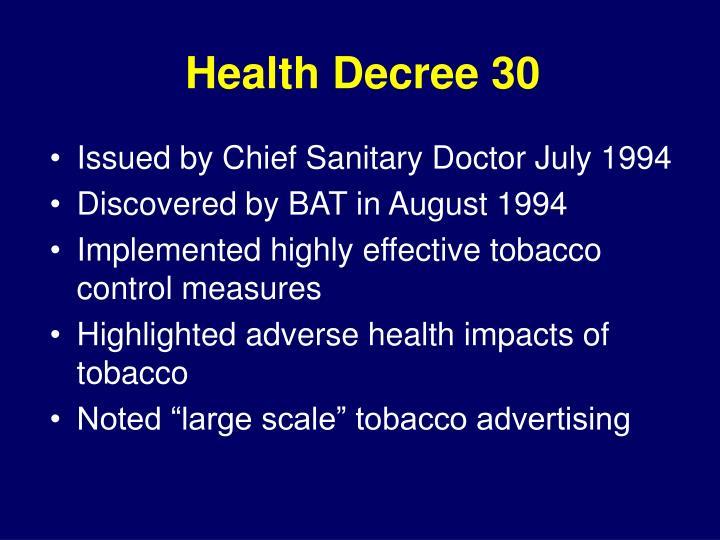 Health Decree 30