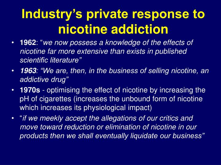Industry's private response to nicotine addiction