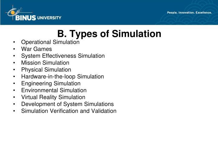 B. Types of Simulation