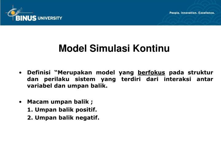 Model Simulasi Kontinu