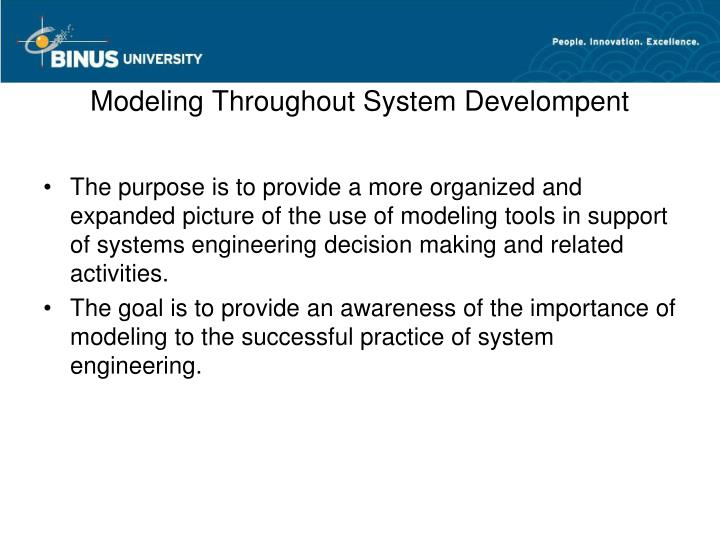 Modeling Throughout System Develompent