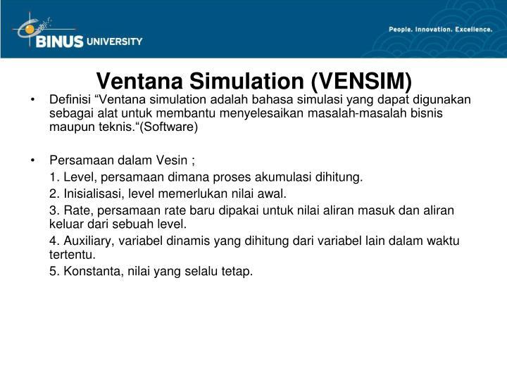 Ventana Simulation (VENSIM)