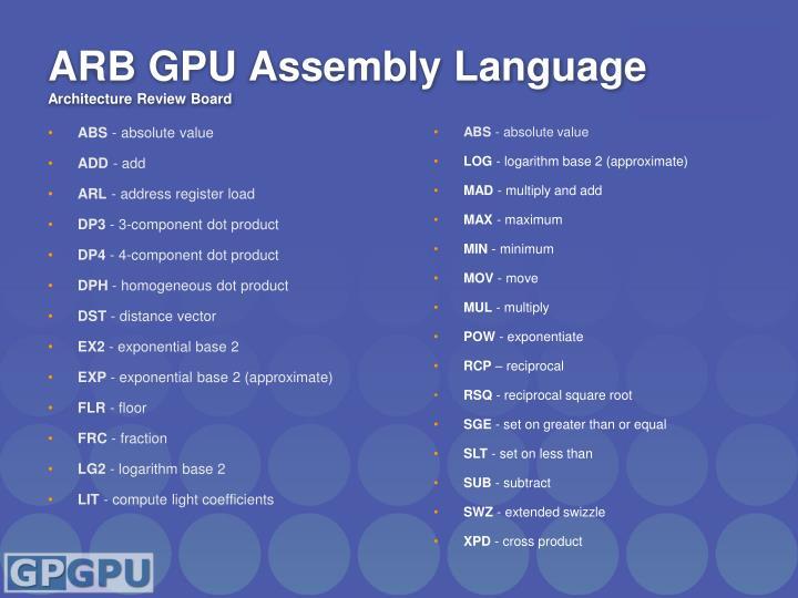 ARB GPU Assembly Language