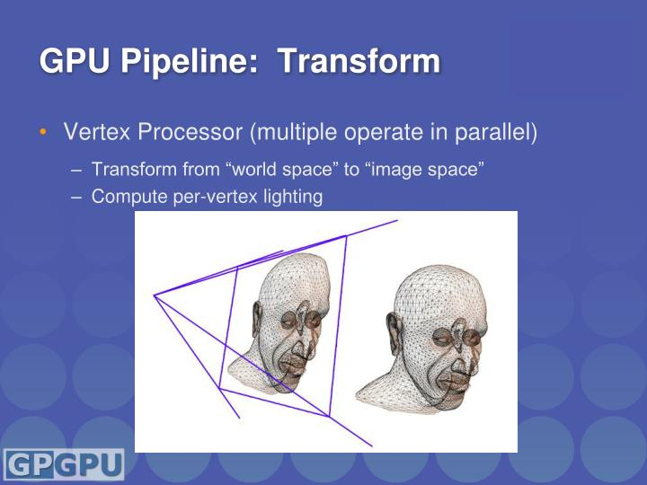 GPU Pipeline:  Transform