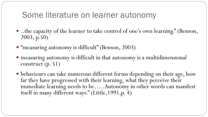Some literature on learner autonomy