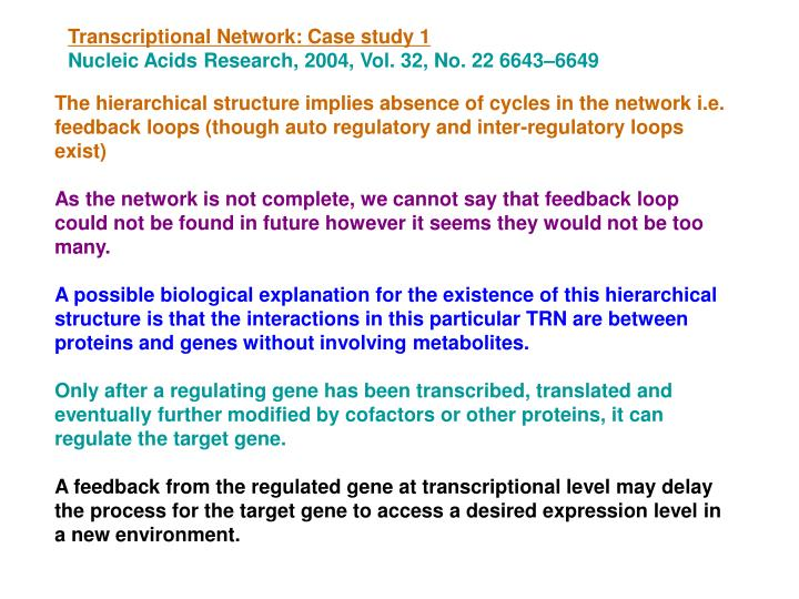 Transcriptional Network: Case study 1