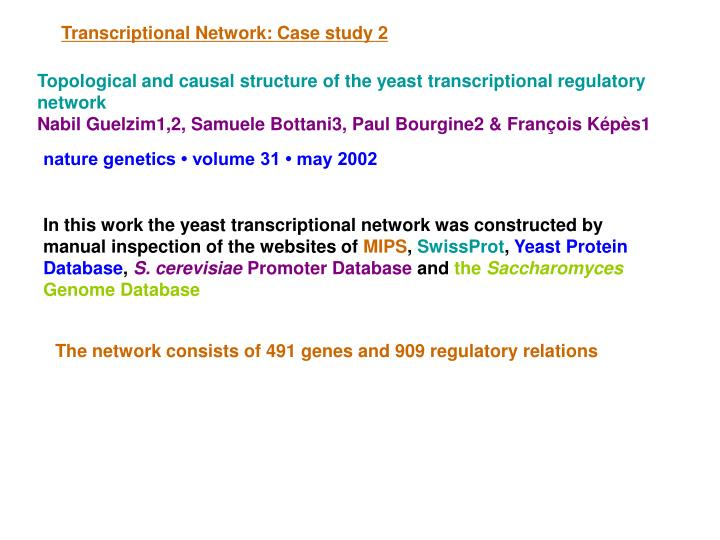 Transcriptional Network: Case study 2