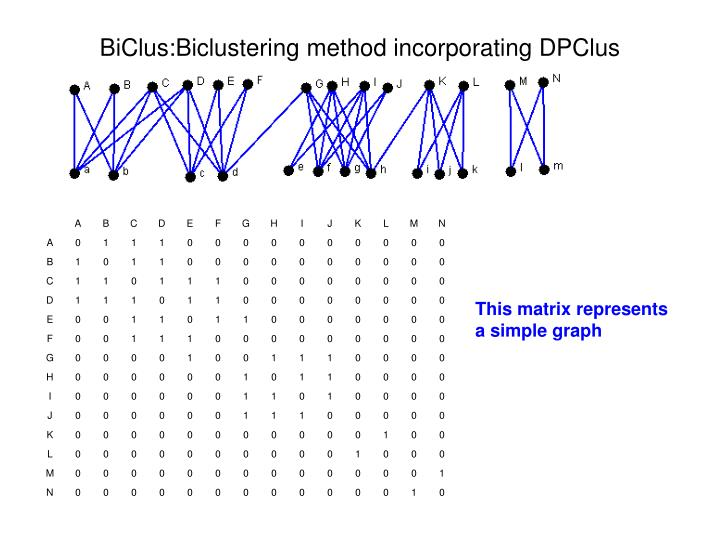 BiClus:Biclustering method incorporating DPClus