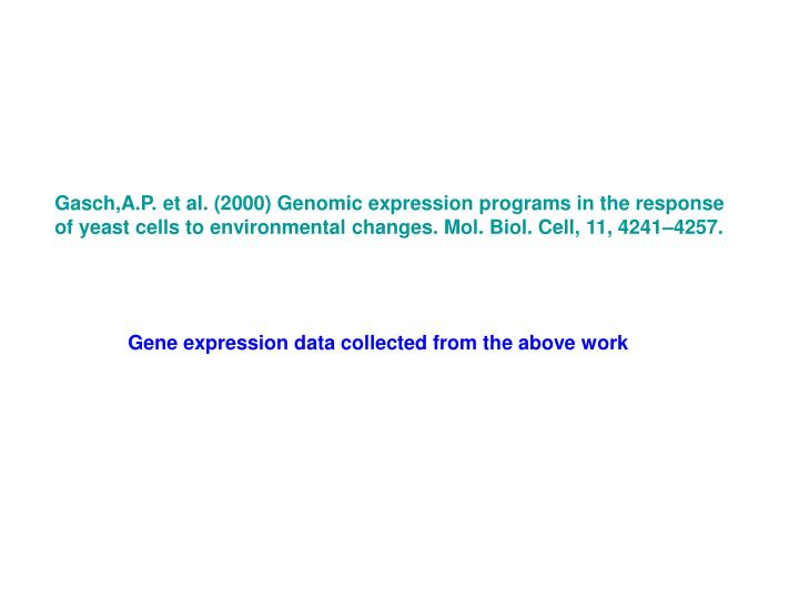 Gasch,A.P. et al. (2000) Genomic expression programs in the response