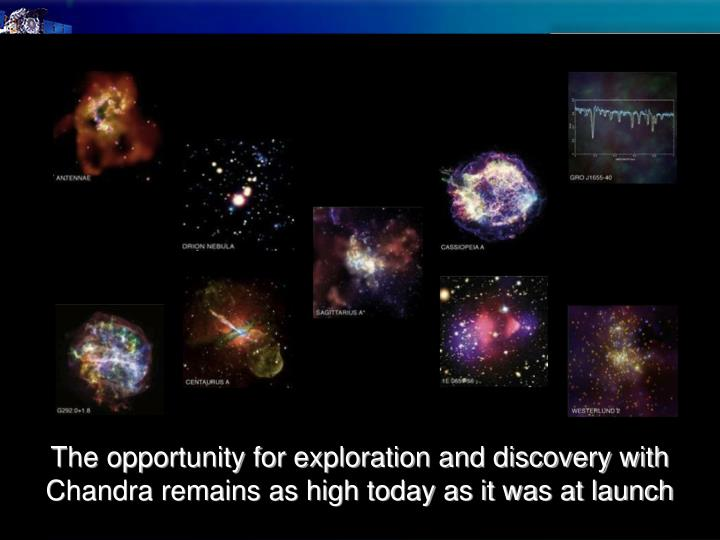 The opportunity for exploration and discovery with Chandra remains as high today as it was at launch