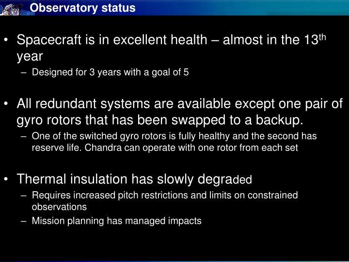 Observatory status