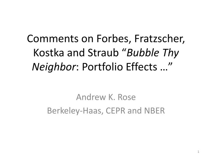 Comments on Forbes,