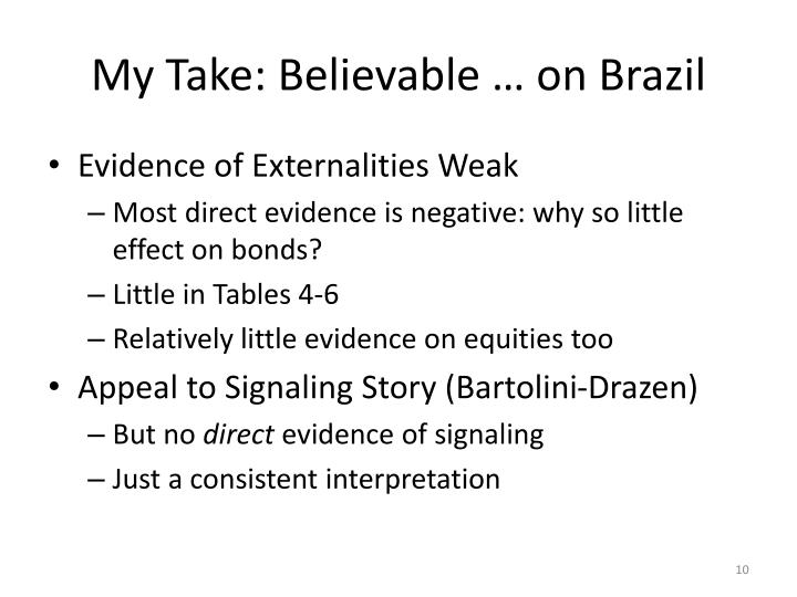 My Take: Believable … on Brazil